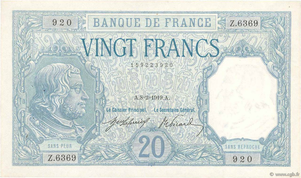20 Francs BAYARD FRANCE  1919 F.11.04 SUP+