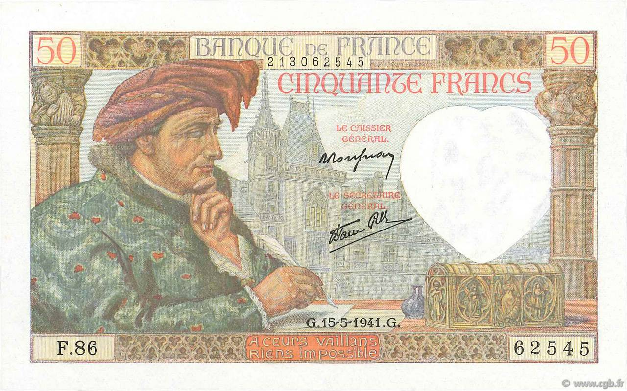 50 Francs JACQUES CŒUR FRANCE  1941 F.19.11 NEUF