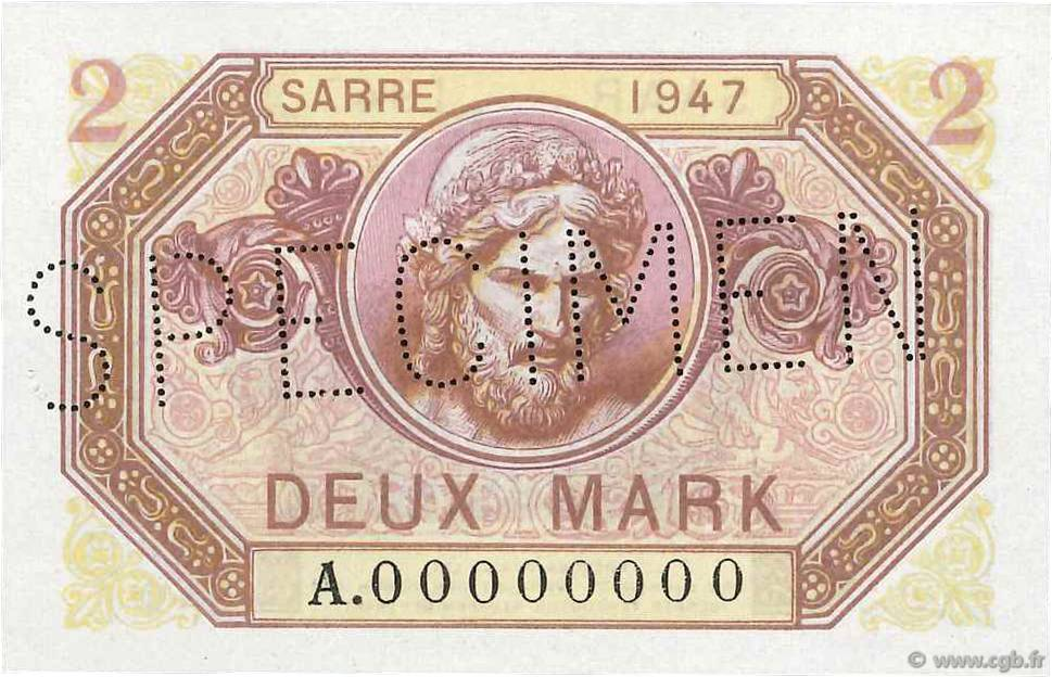 2 Mark SARRE FRANCE  1947 VF.45.02 NEUF