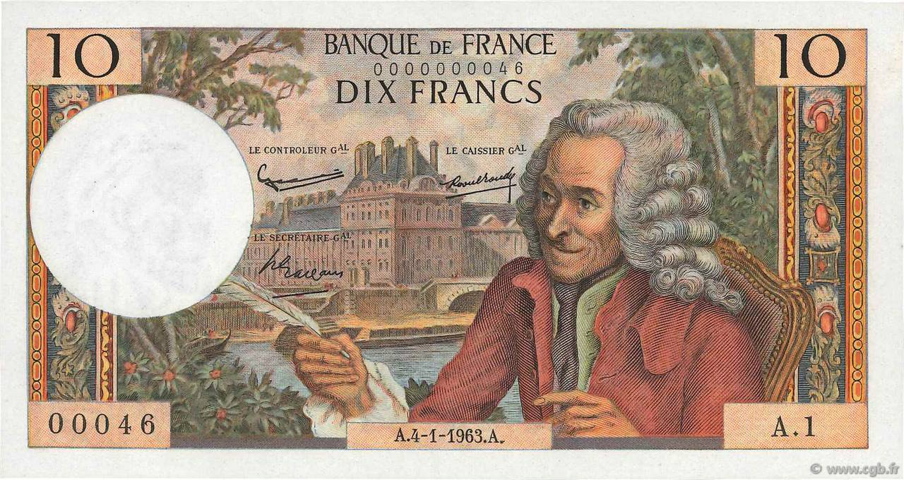 10 Francs VOLTAIRE FRANCE  1963 F.62.01 pr.NEUF