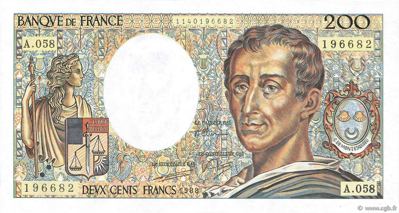 200 Francs MONTESQUIEU FRANCE  1988 F.70.08 UNC