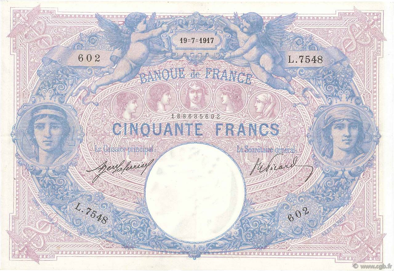 50 Francs BLEU ET ROSE  FRANCE  1917 F.14.30 SUP