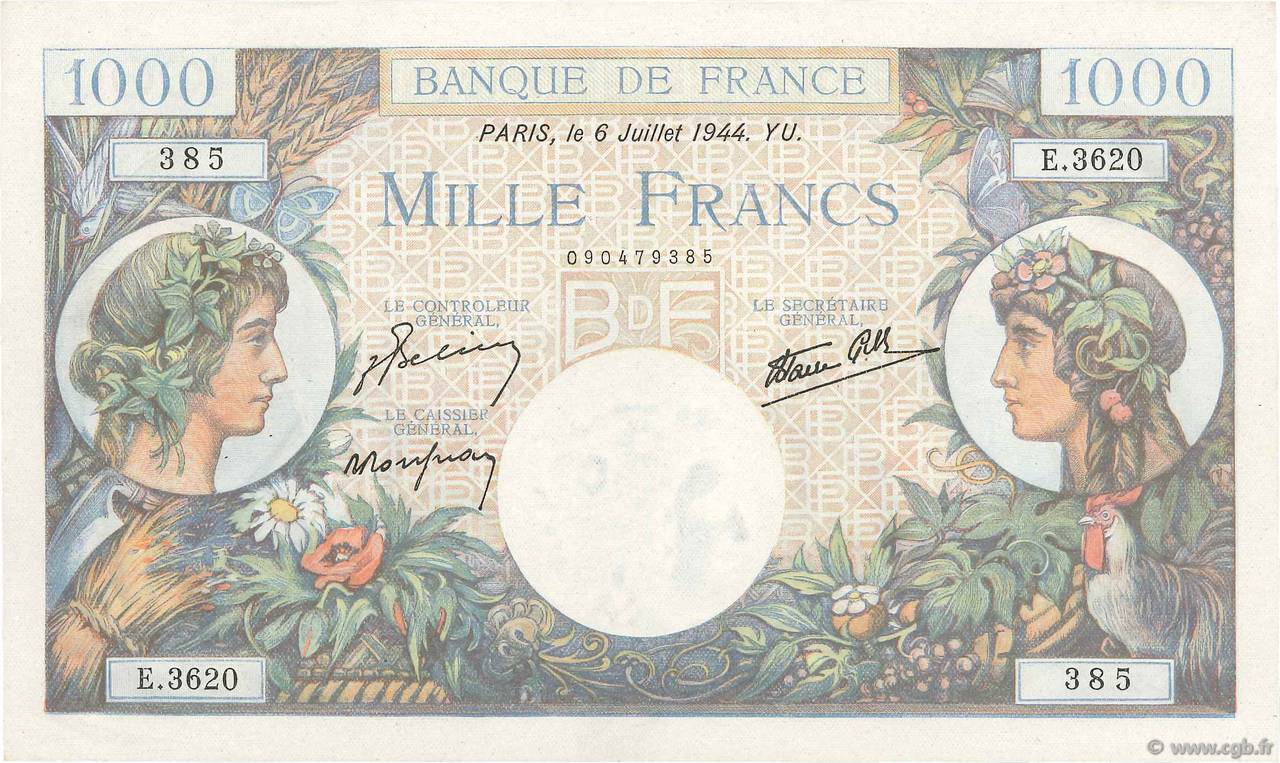 1000 Francs COMMERCE ET INDUSTRIE  FRANCE  1944 F.39.10 SPL+