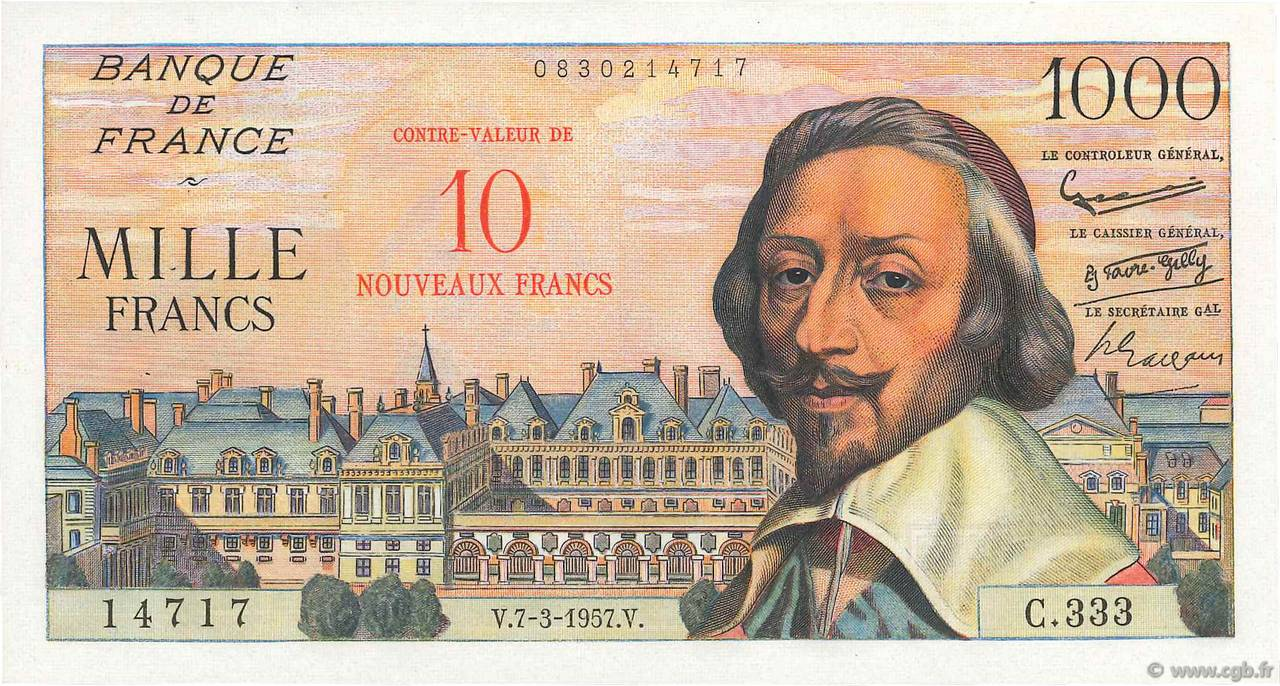 10 NF sur 1000 Francs RICHELIEU  FRANCE  1957 F.53.01 SUP à SPL
