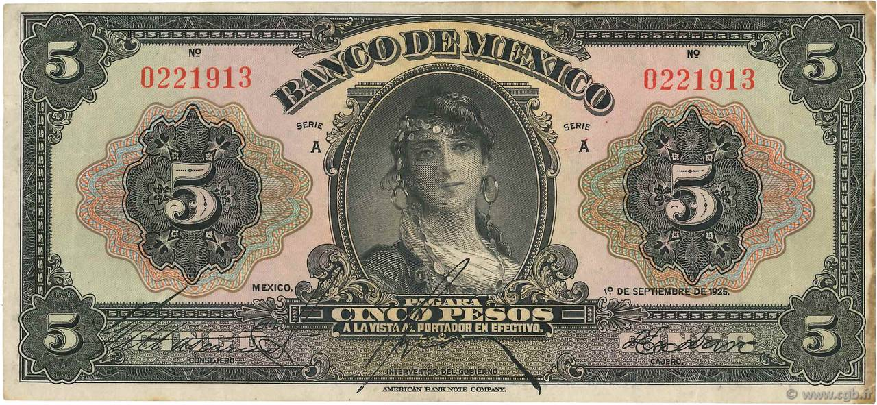 5 Pesos  MEXIQUE  1925 P.021a TTB