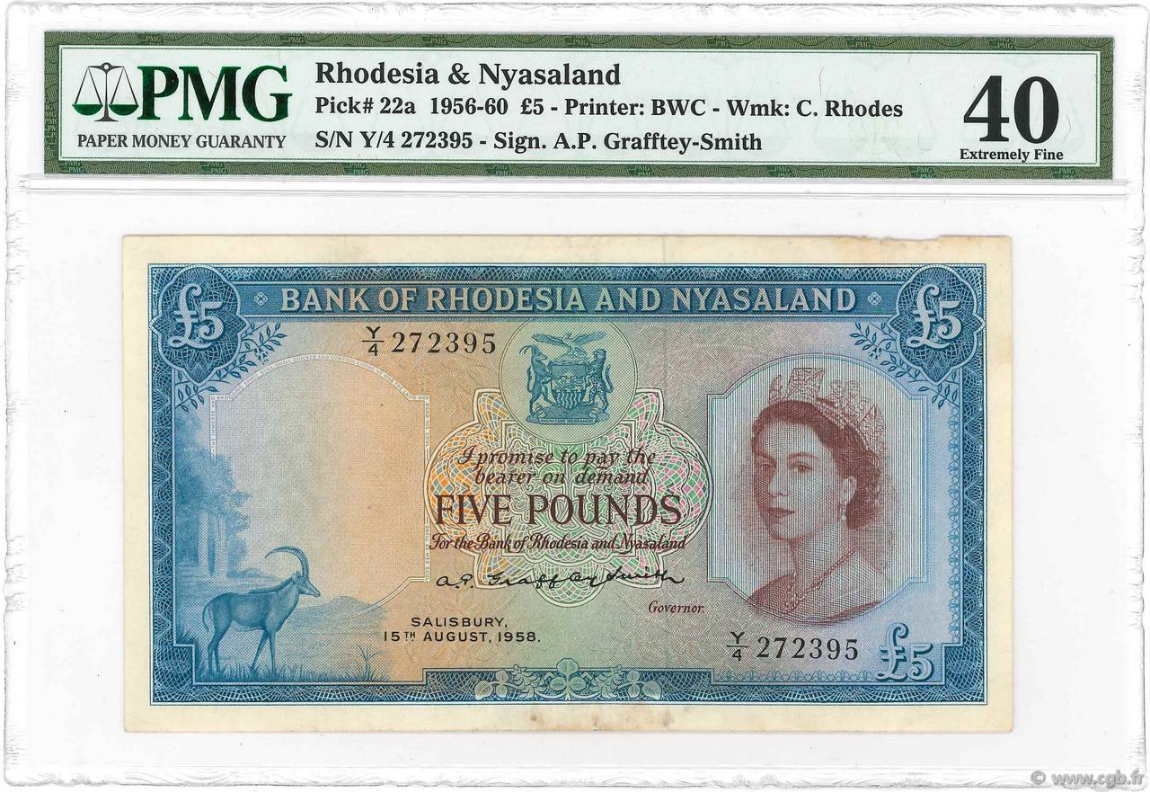 5 Pounds RHODESIA AND NYASALAND (Federation of)  1956 P.22a aVF