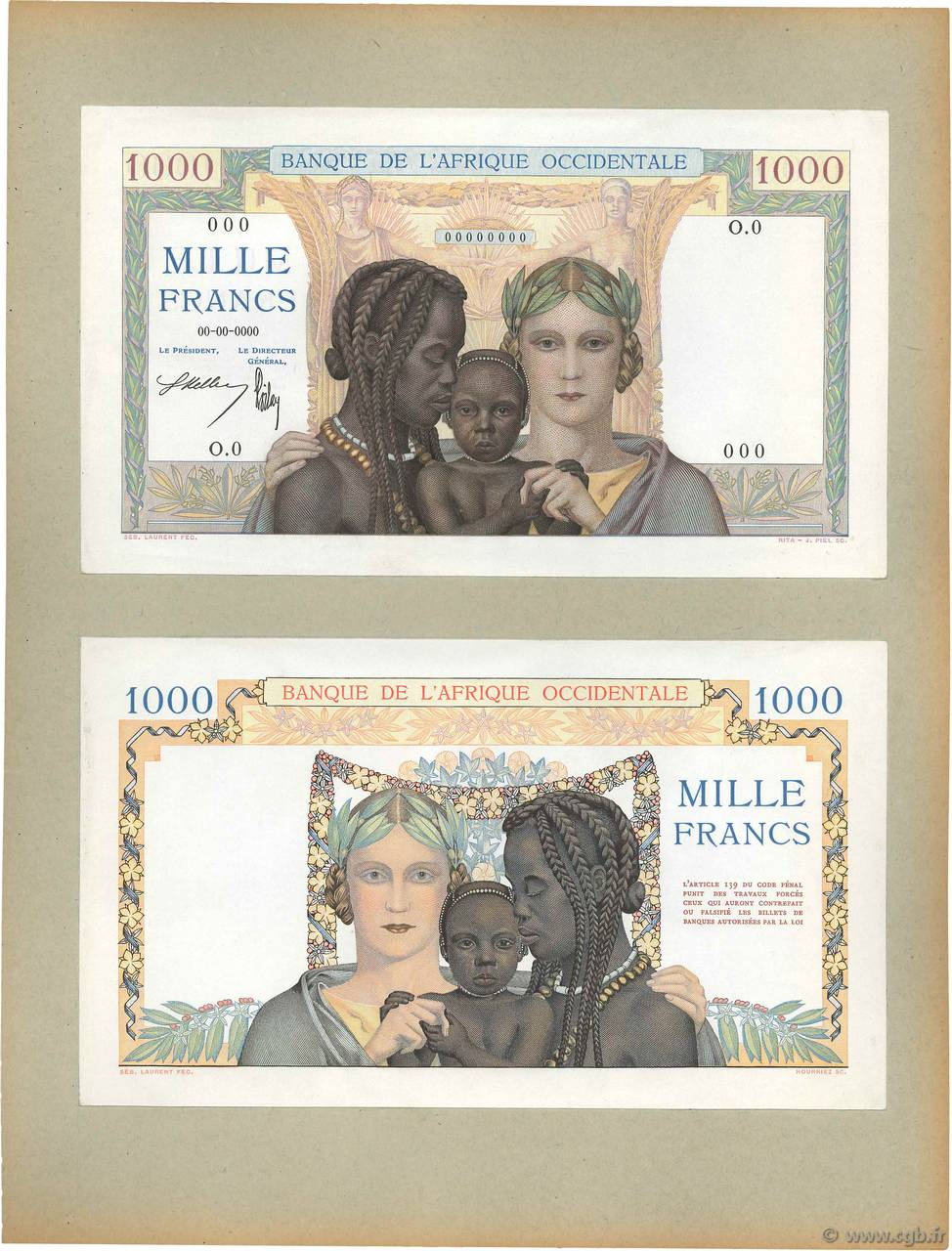 1000 Francs Épreuve FRENCH WEST AFRICA (1895-1958)  1936 P.24p UNC
