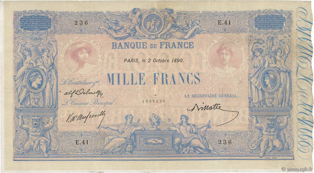 1000 Francs BLEU ET ROSE FRANCE  1890 F.36.02 F