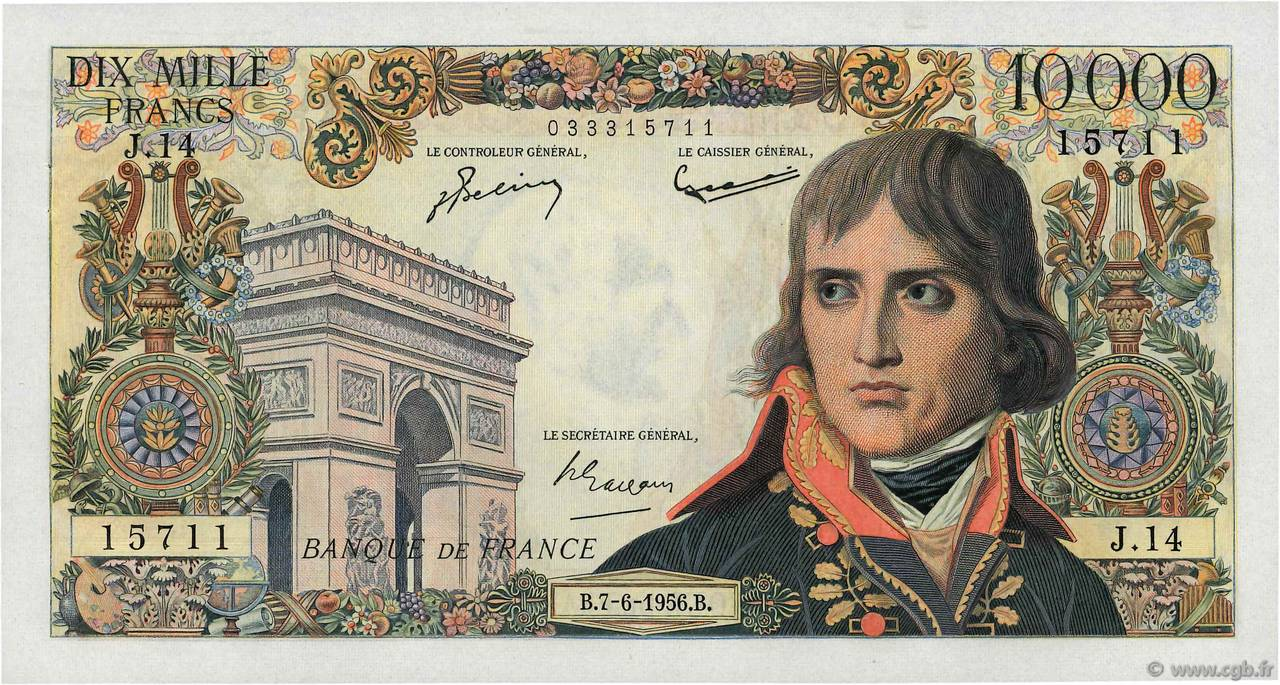 10000 Francs BONAPARTE FRANCE  1956 F.51.03 AU