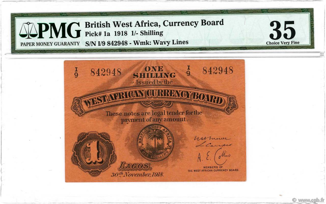 1 Shilling BRITISH WEST AFRICA  1918 P.01 VF