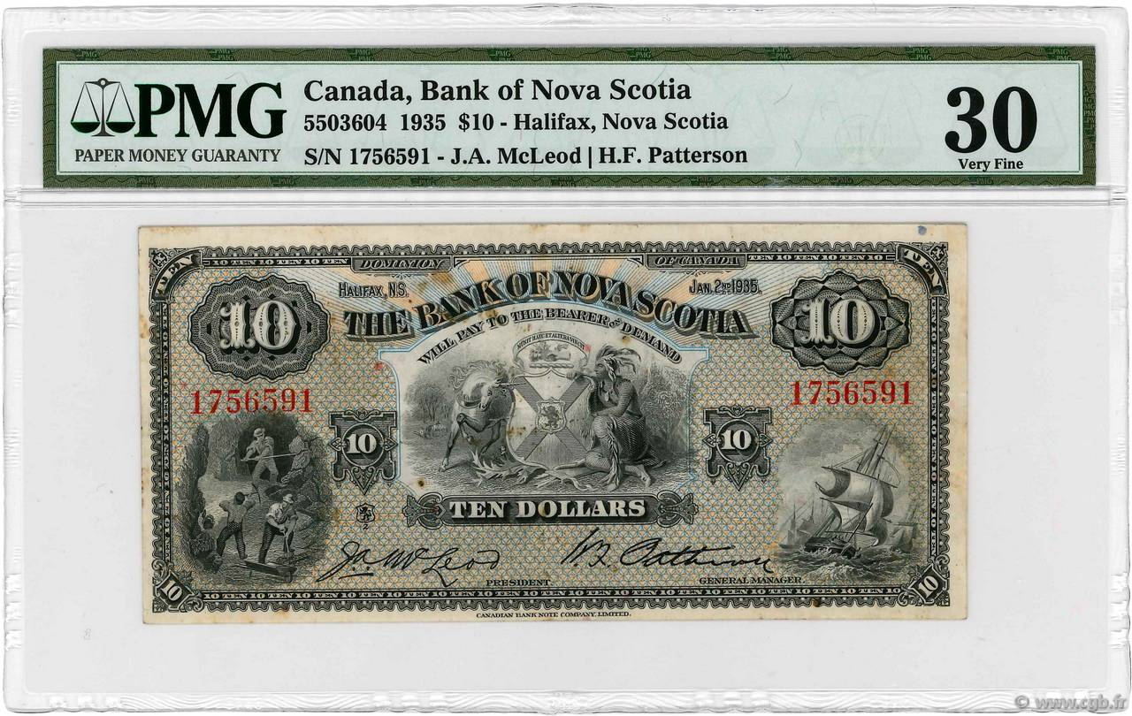 10 Dollars  CANADA Halifax 1935 PS.0633 TTB+