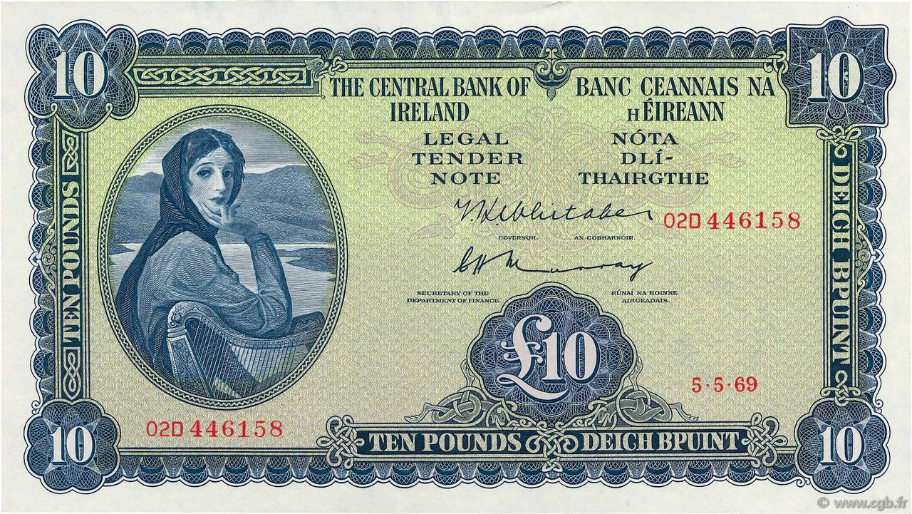 10 Pounds IRELAND REPUBLIC  1969 P.066b AU