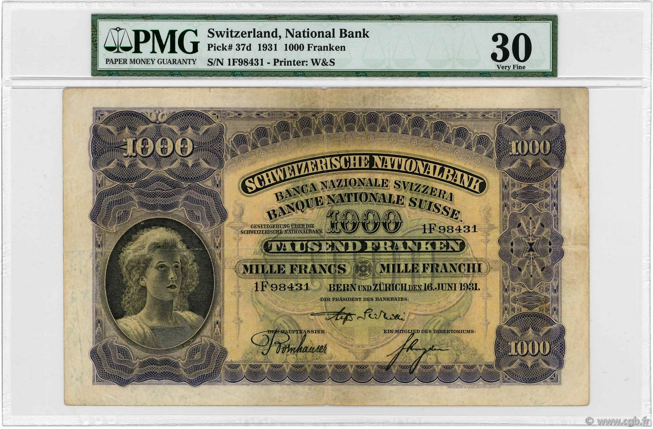 1000 Francs SWITZERLAND  1931 P.37c F