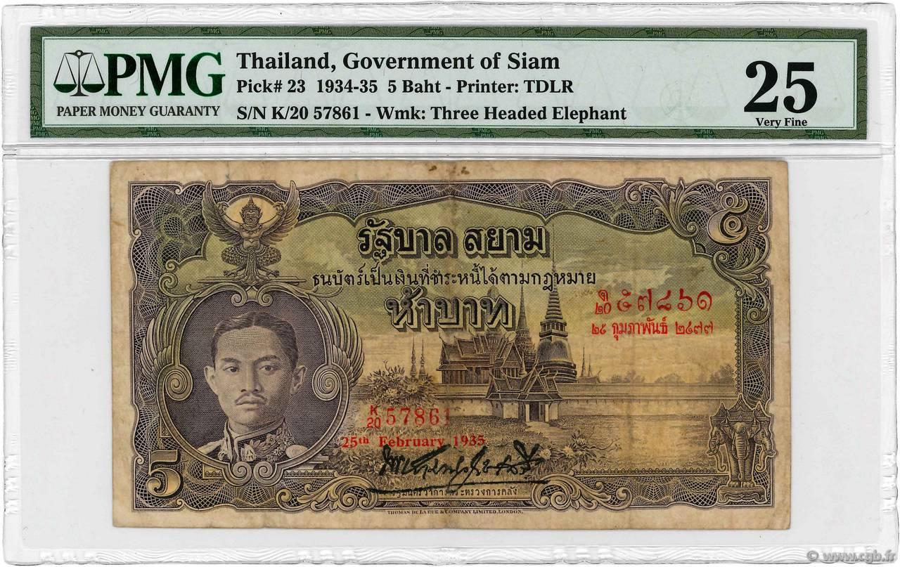 5 Baht THAILAND 1935 P 023 4140371 Banknotes