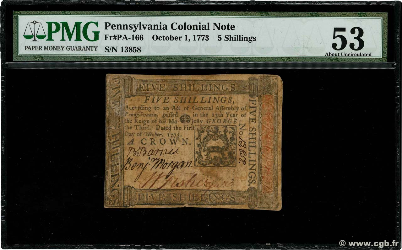 5 Shillings  UNITED STATES OF AMERICA  1773 PS.2540D VF+