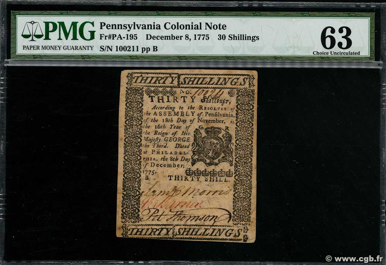 30 Shillings  UNITED STATES OF AMERICA Philadelphie 1775 PS.2559 AU-