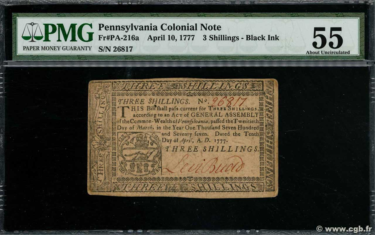 3 Shillings  UNITED STATES OF AMERICA  1777 PS.2580 VF+