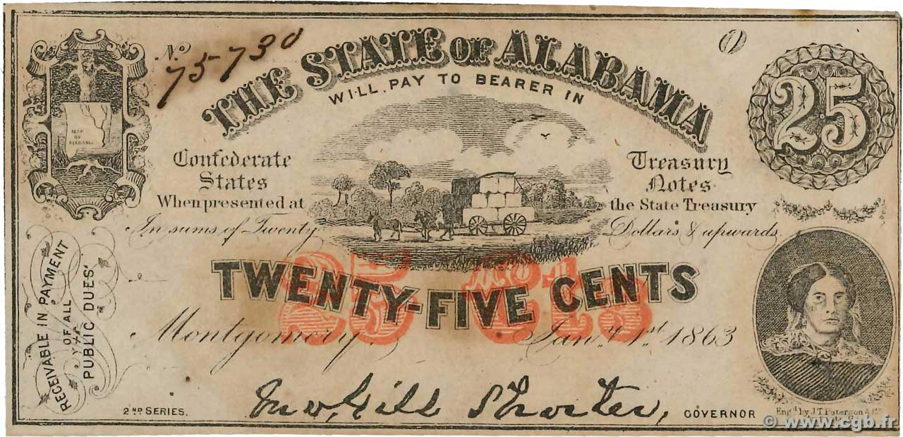 25 Cents UNITED STATES OF AMERICA Montgomery 1863 PS.0211b AU