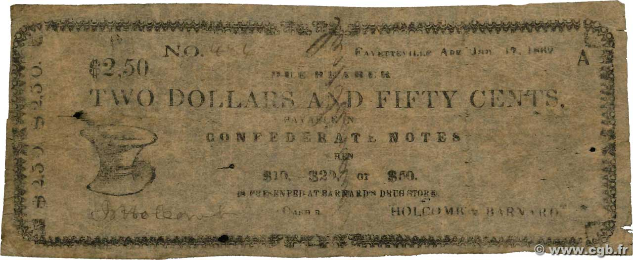 2 Dollars 50 Cents  UNITED STATES OF AMERICA Fayetteville 1862  G