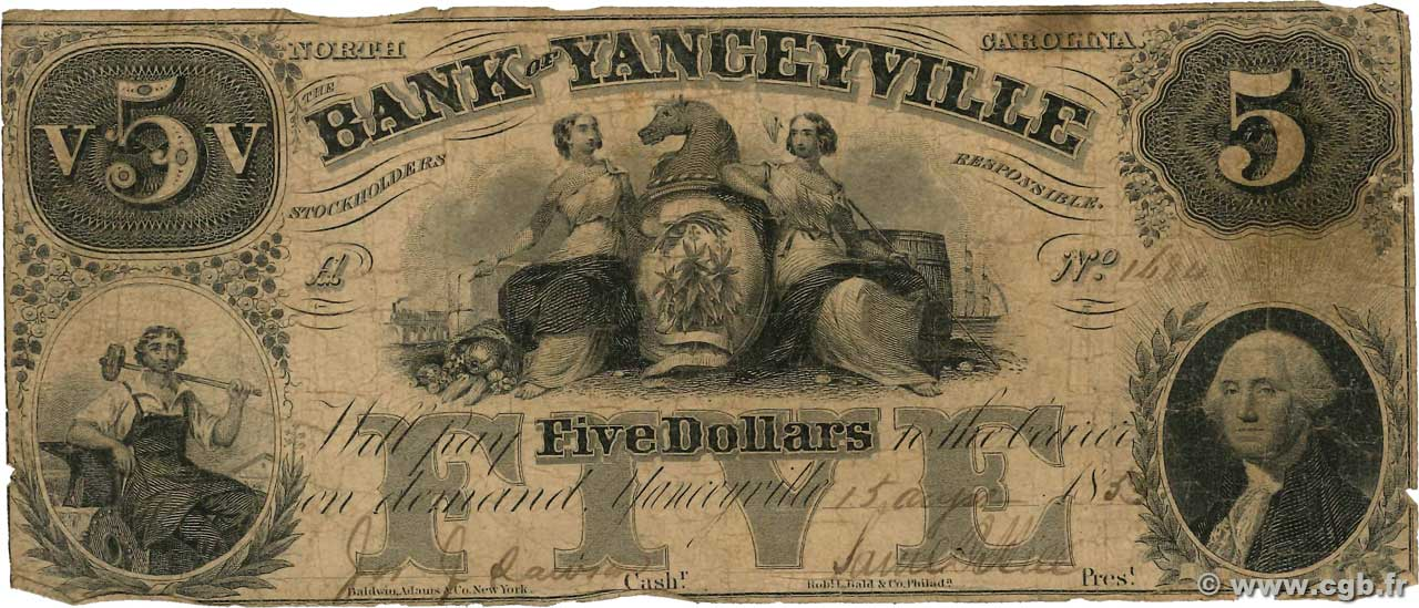 5 Dollars  UNITED STATES OF AMERICA Yanceyville 1853  G