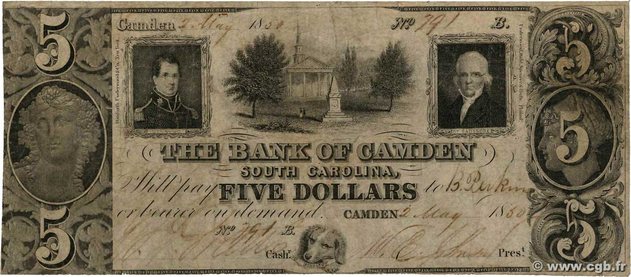 5 Dollars  UNITED STATES OF AMERICA Camden 1850  VG