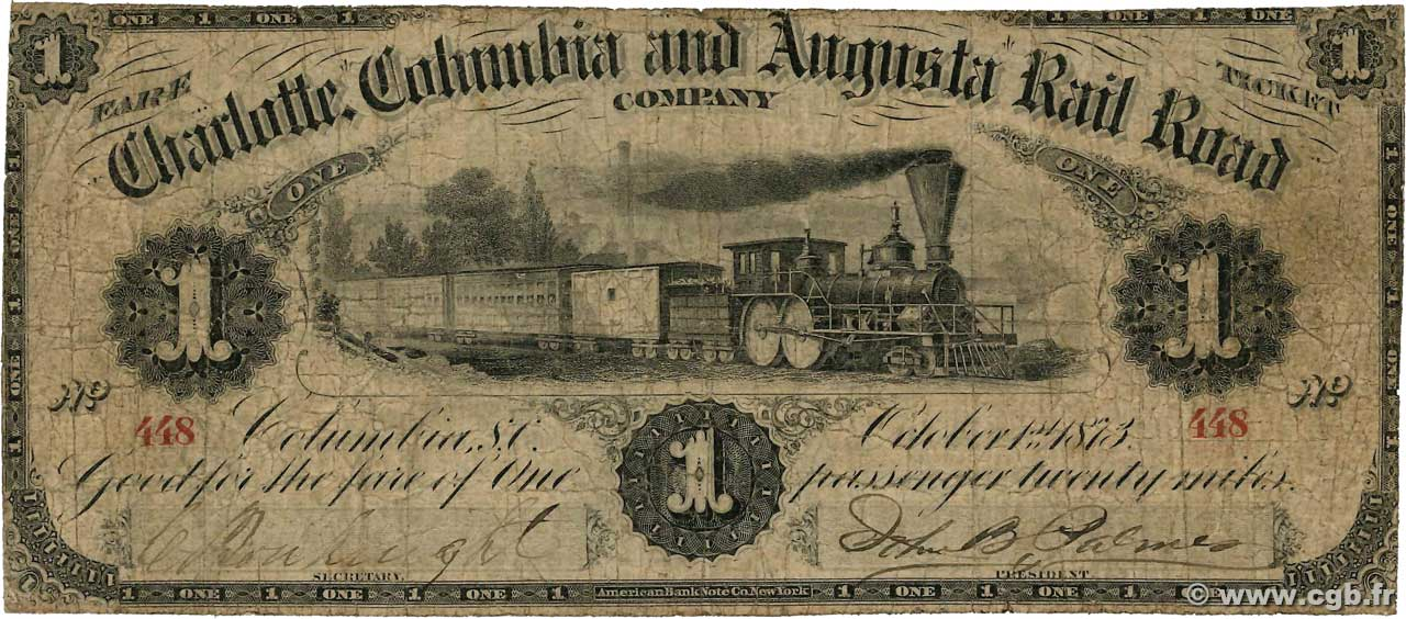 1 Passenger  UNITED STATES OF AMERICA Columbia 1873  VG
