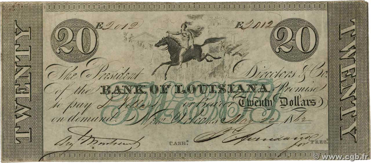 20 Dollars UNITED STATES OF AMERICA New Orleans 1862  VF