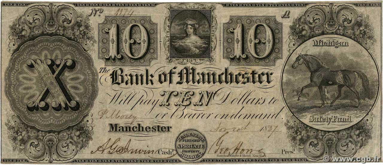 10 Dollars Annulé UNITED STATES OF AMERICA Manchester 1837  F+