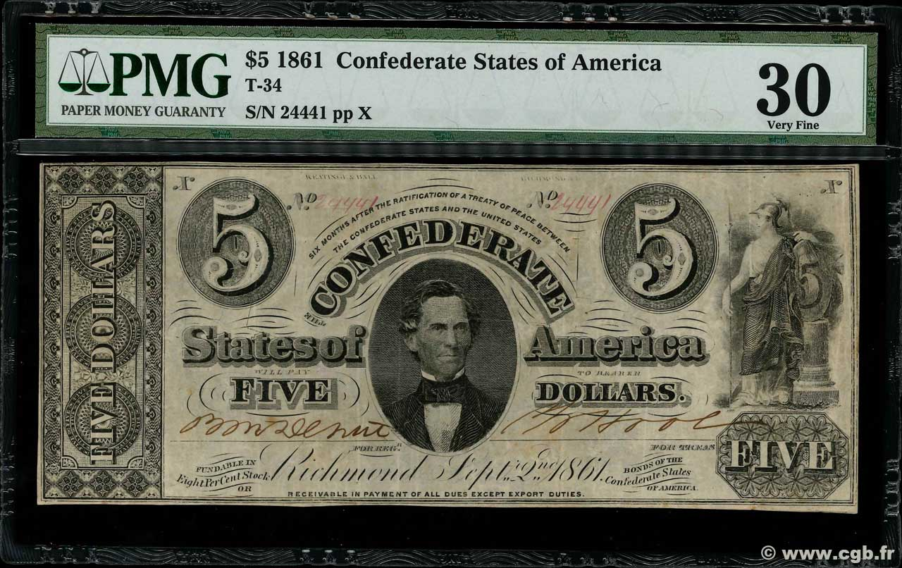 5 Dollars Annulé CONFEDERATE STATES OF AMERICA  1861 P.16b VF-