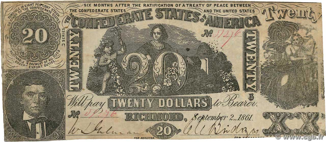 20 Dollars CONFEDERATE STATES OF AMERICA  1861 P.33 VF