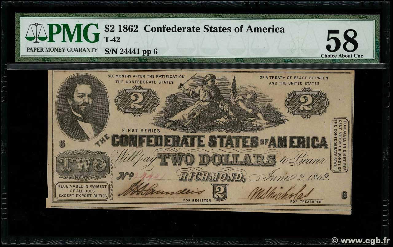 2 Dollars CONFEDERATE STATES OF AMERICA  1862 P.41 AU
