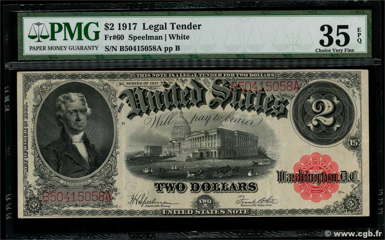 2 Dollars UNITED STATES OF AMERICA  1917 P.188 aXF