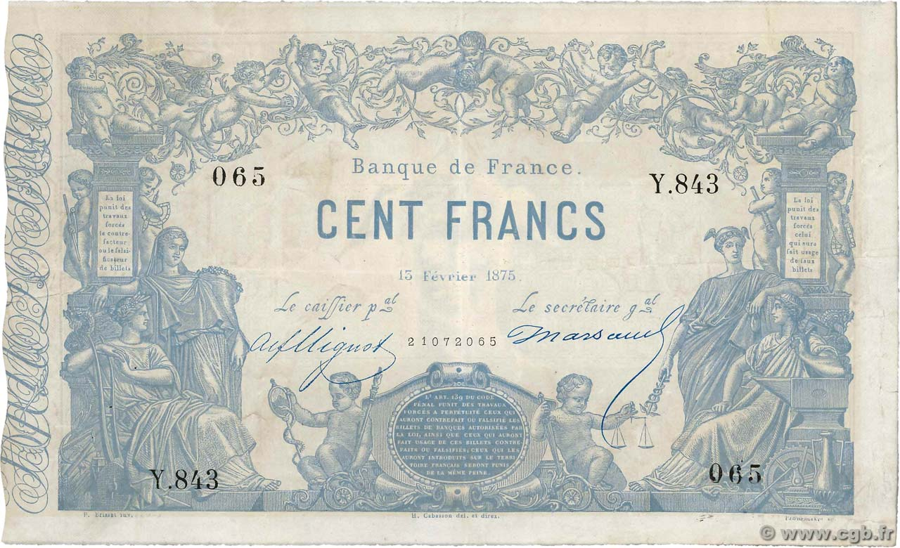 100 Francs type 1862 Indices Noirs FRANCE  1875 F.A39.11 TTB