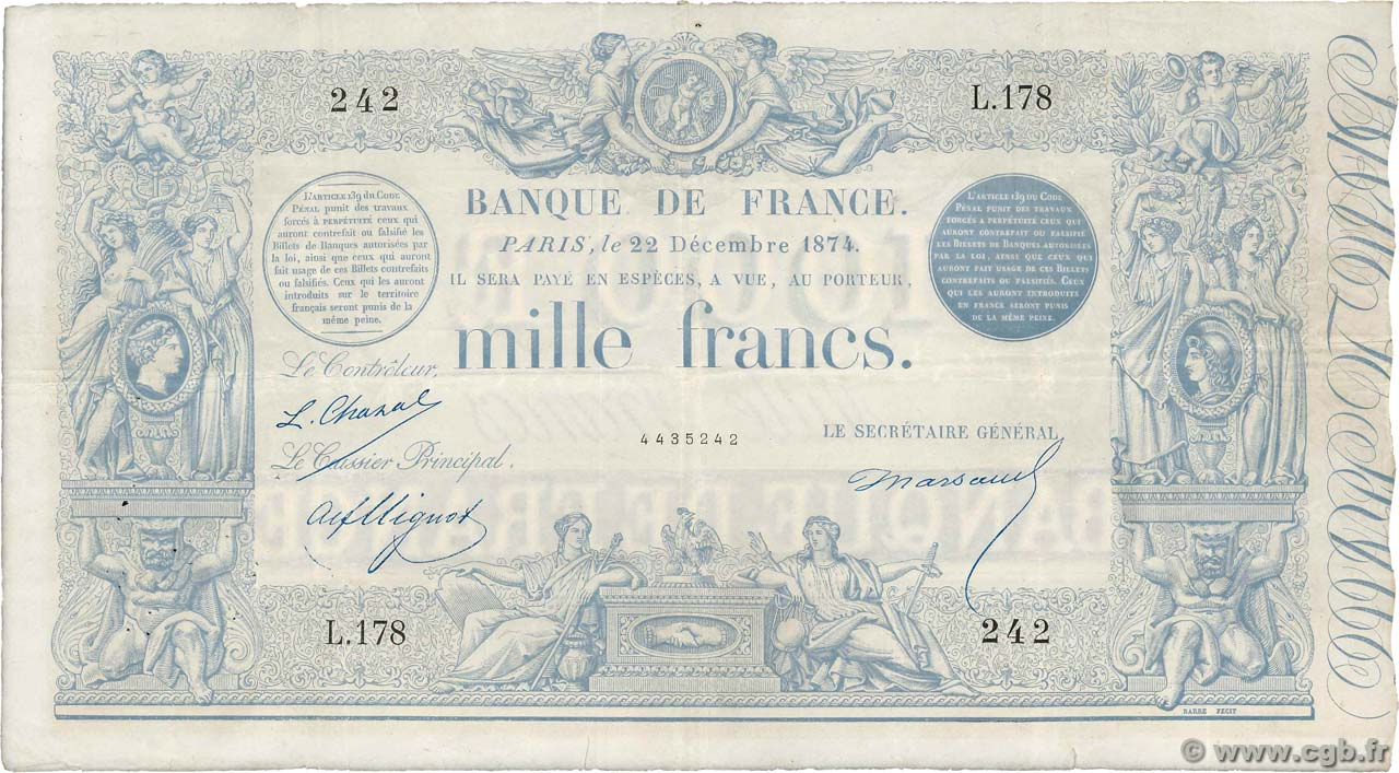 1000 Francs type 1862 Indices Noirs FRANKREICH  1874 F.A41.09 SS