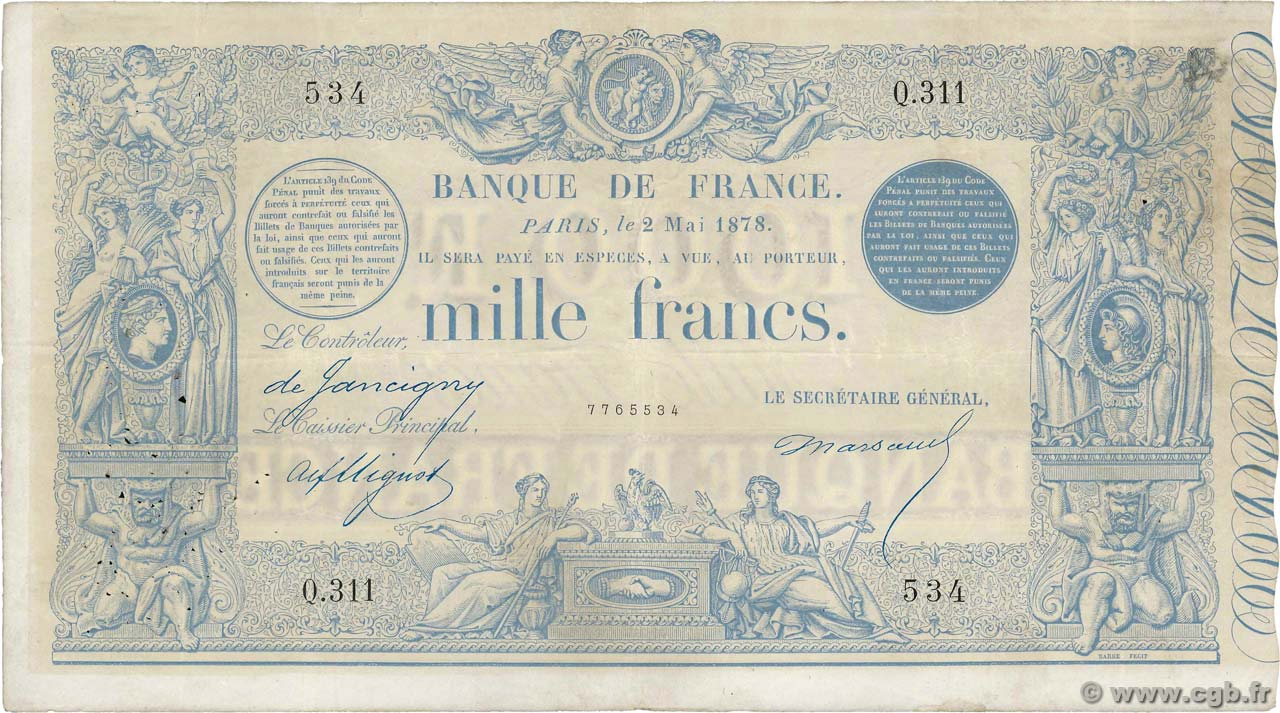 1000 Francs type 1862 Indices Noirs  FRANCE  1878 F.A41.14 VF