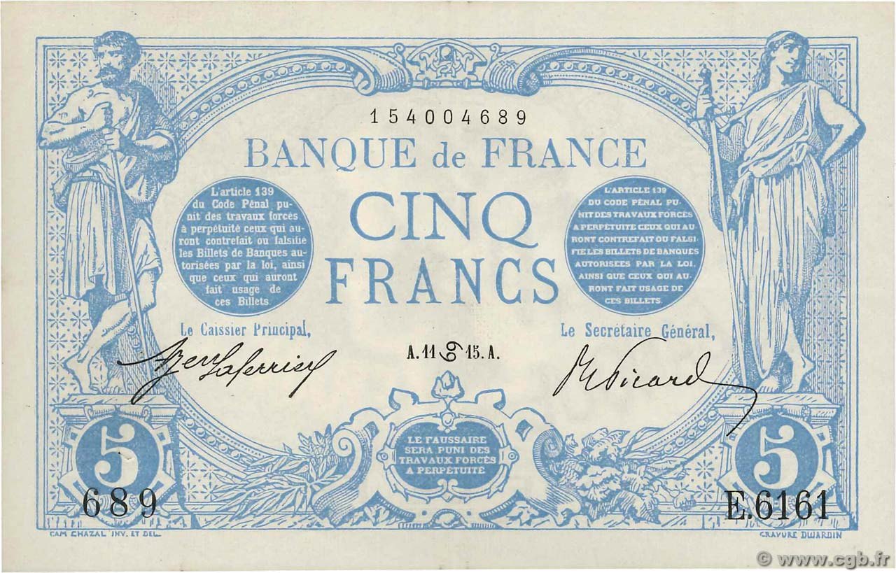 5 Francs BLEU  FRANCE  1915 F.02.28 XF-
