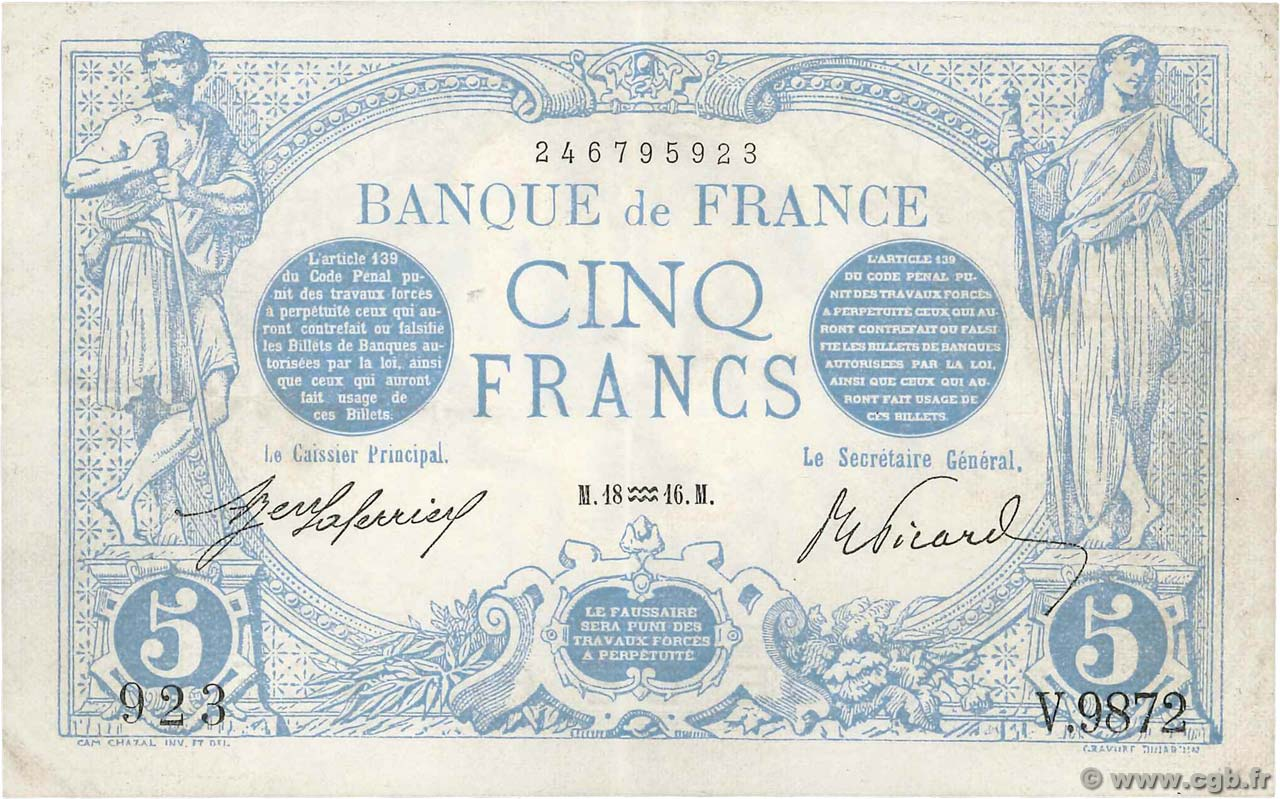 5 Francs BLEU  FRANCE  1916 F.02.35 XF