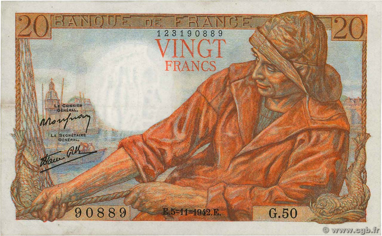 20 Francs PÊCHEUR  FRANCE  1942 F.13.04 VF+