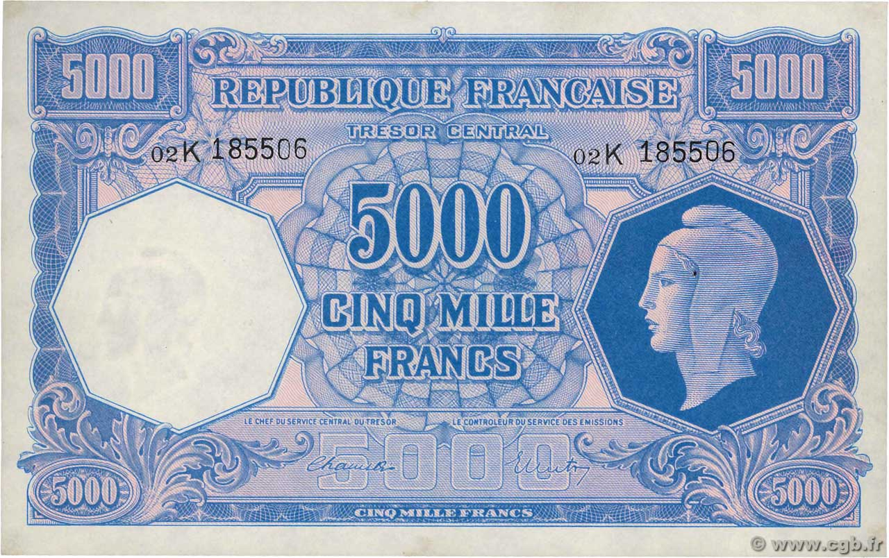 5000 Francs MARIANNE FRANCE  1945 VF.14.01 AU