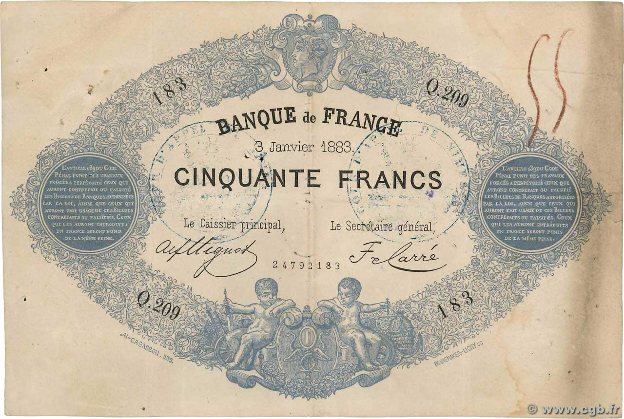 50 Francs type 1868 Indices Noirs FRANCE  1883 F.A38.13x aVF