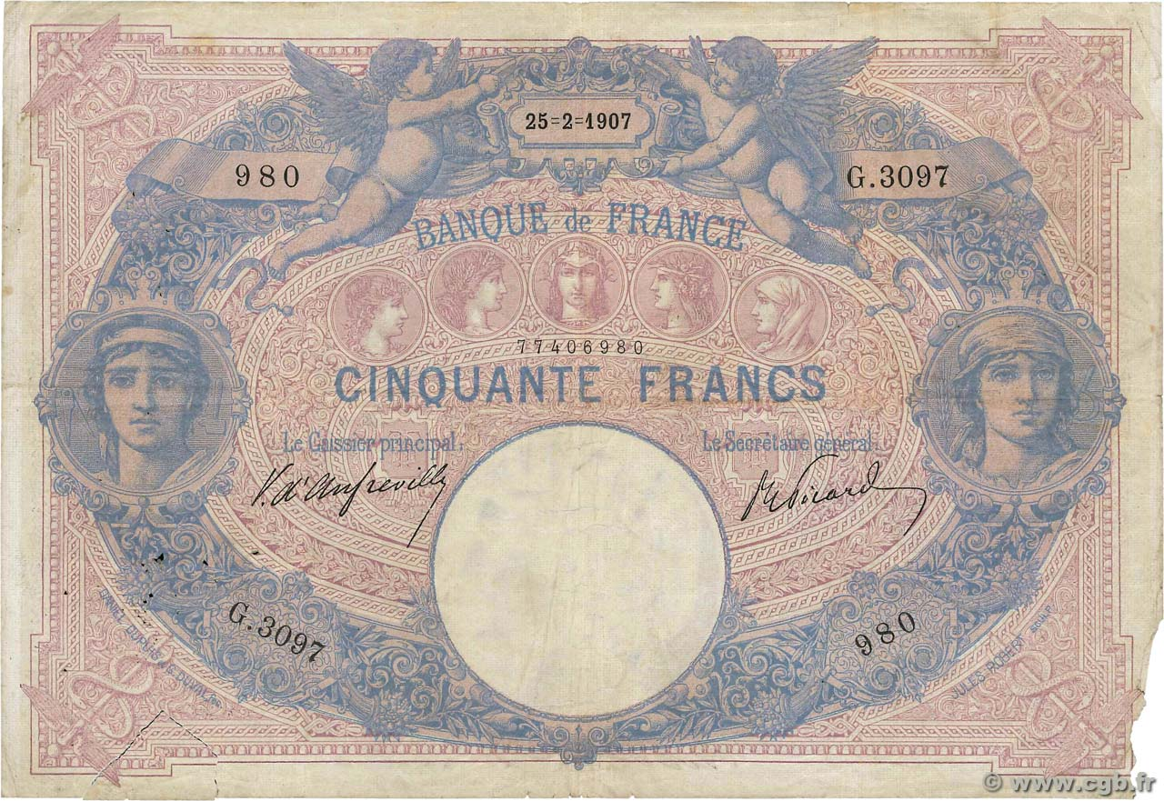 50 Francs BLEU ET ROSE  FRANCE  1907 F.14.19 pr.B