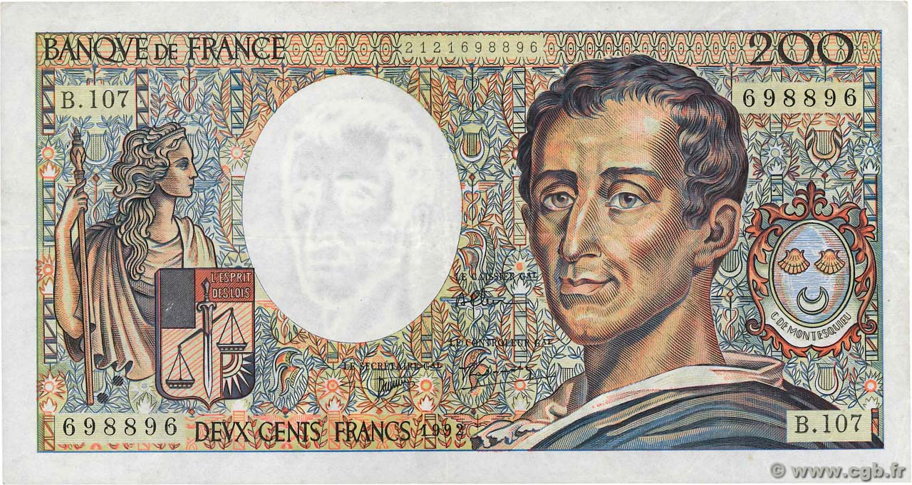200 Francs MONTESQUIEU Numéro radar FRANCE  1992 F.70.12a TTB