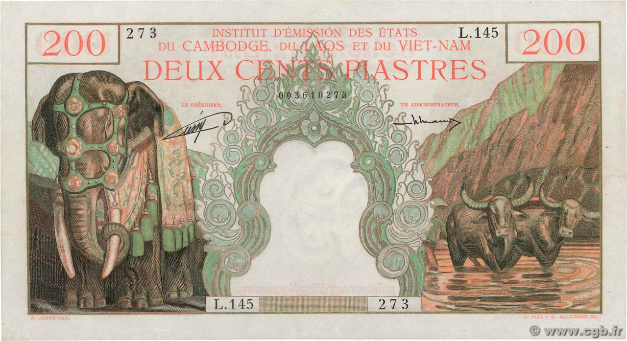 200 Piastres - 200 Dong FRENCH INDOCHINA  1953 P.098 AU