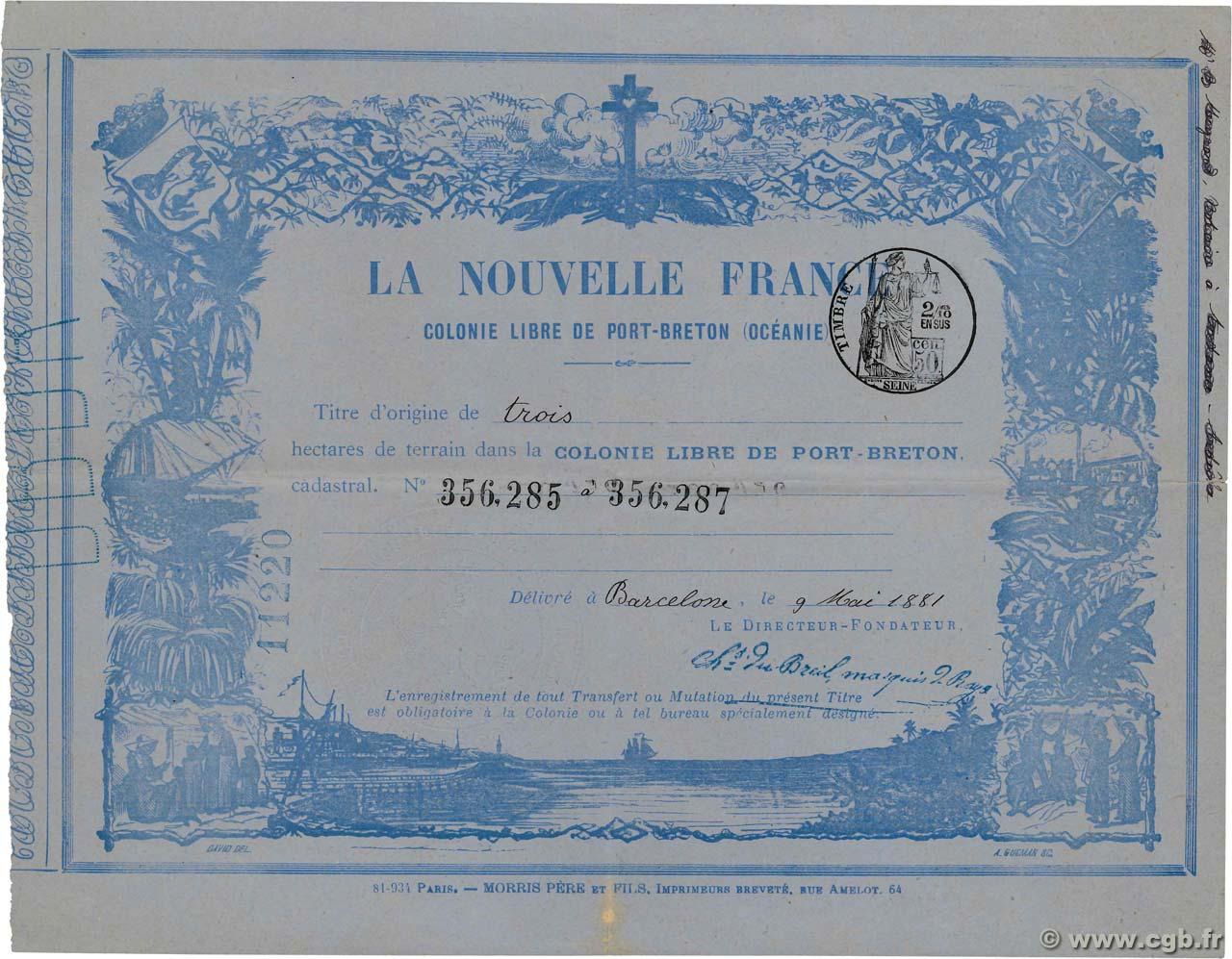 3 Hectares Oceania Port Breton 1881 Km 530 4170319 Banknotes
