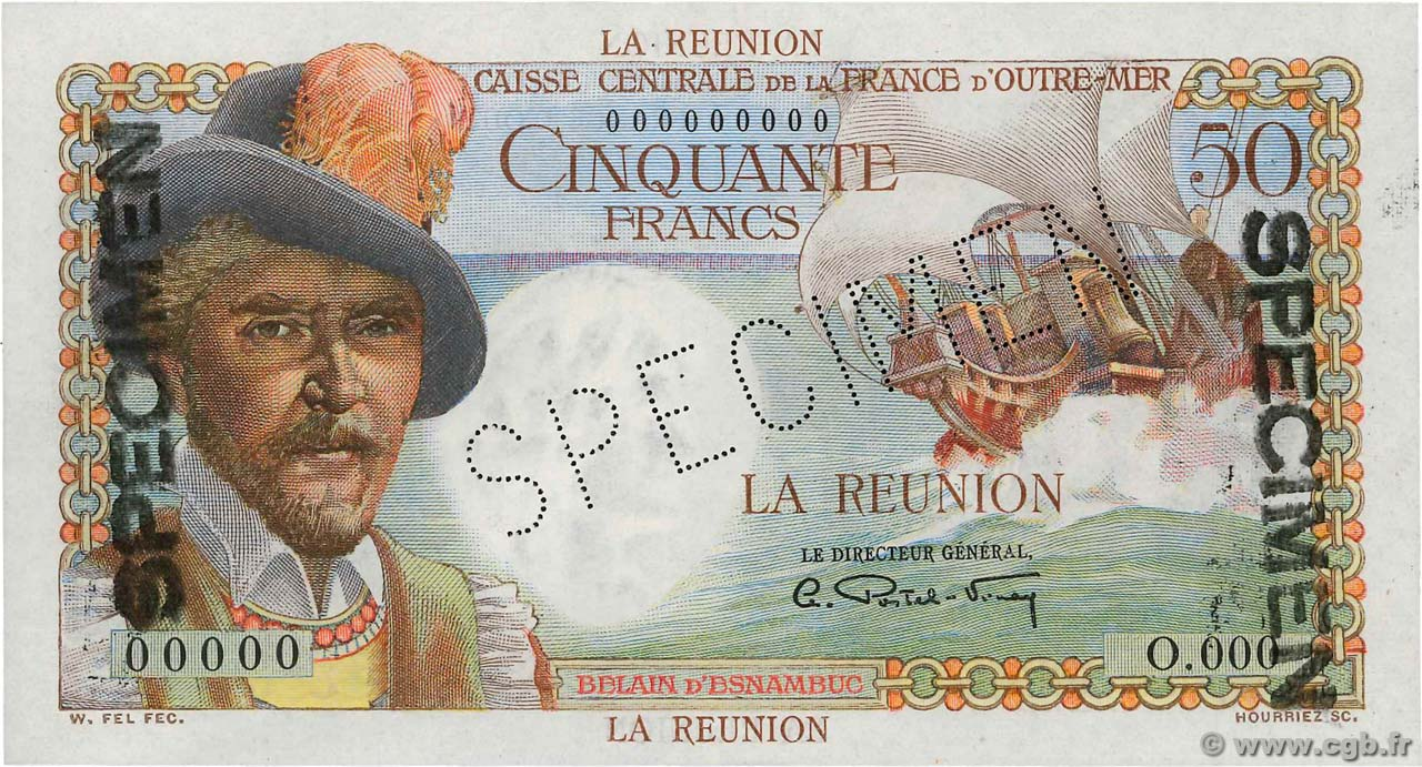 50 francs belain d 39 esnambuc le de la r union 1946 4170331 billets. Black Bedroom Furniture Sets. Home Design Ideas