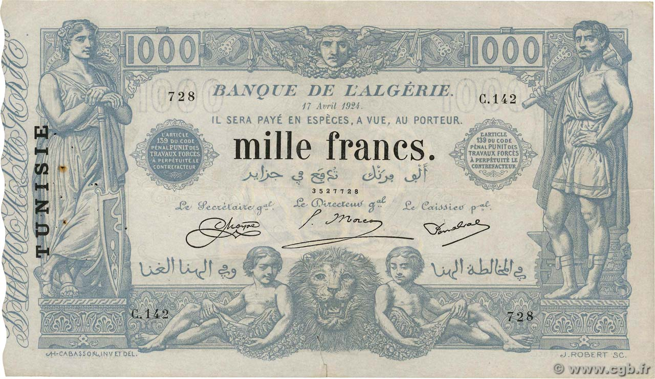 1000 Francs TUNISIA  1924 P.07b VF+