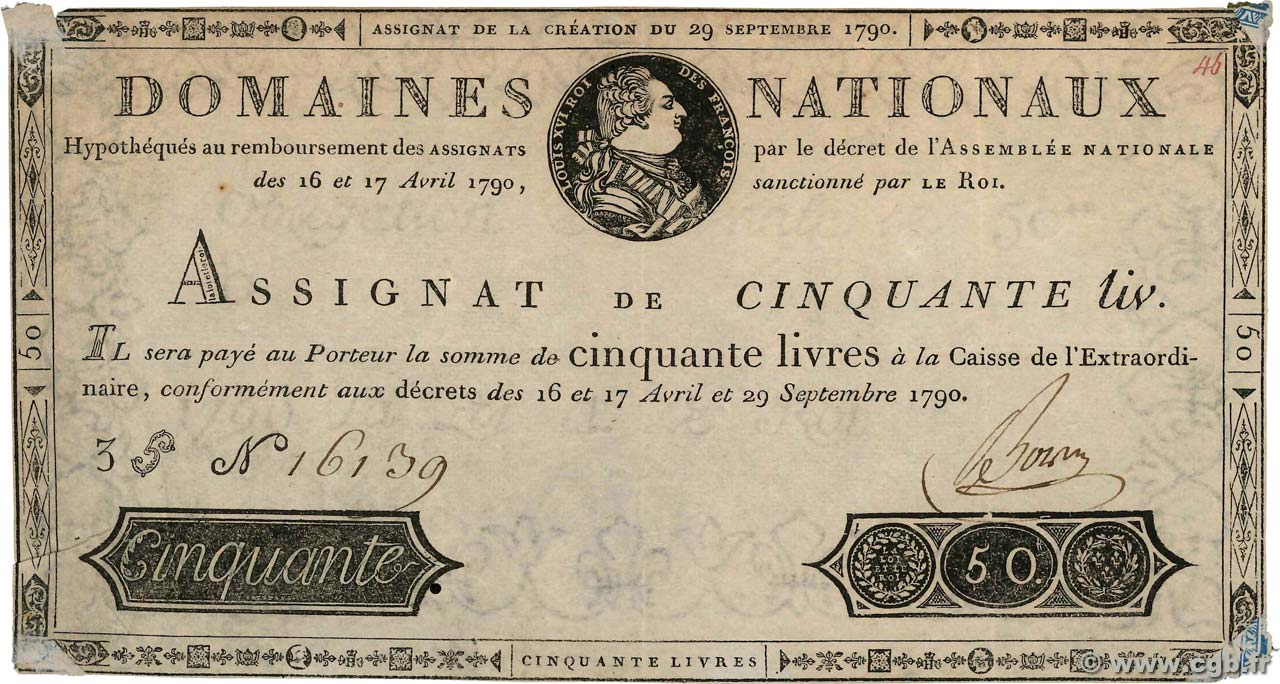 50 Livres  FRANCE  1790 Ass.04var TTB