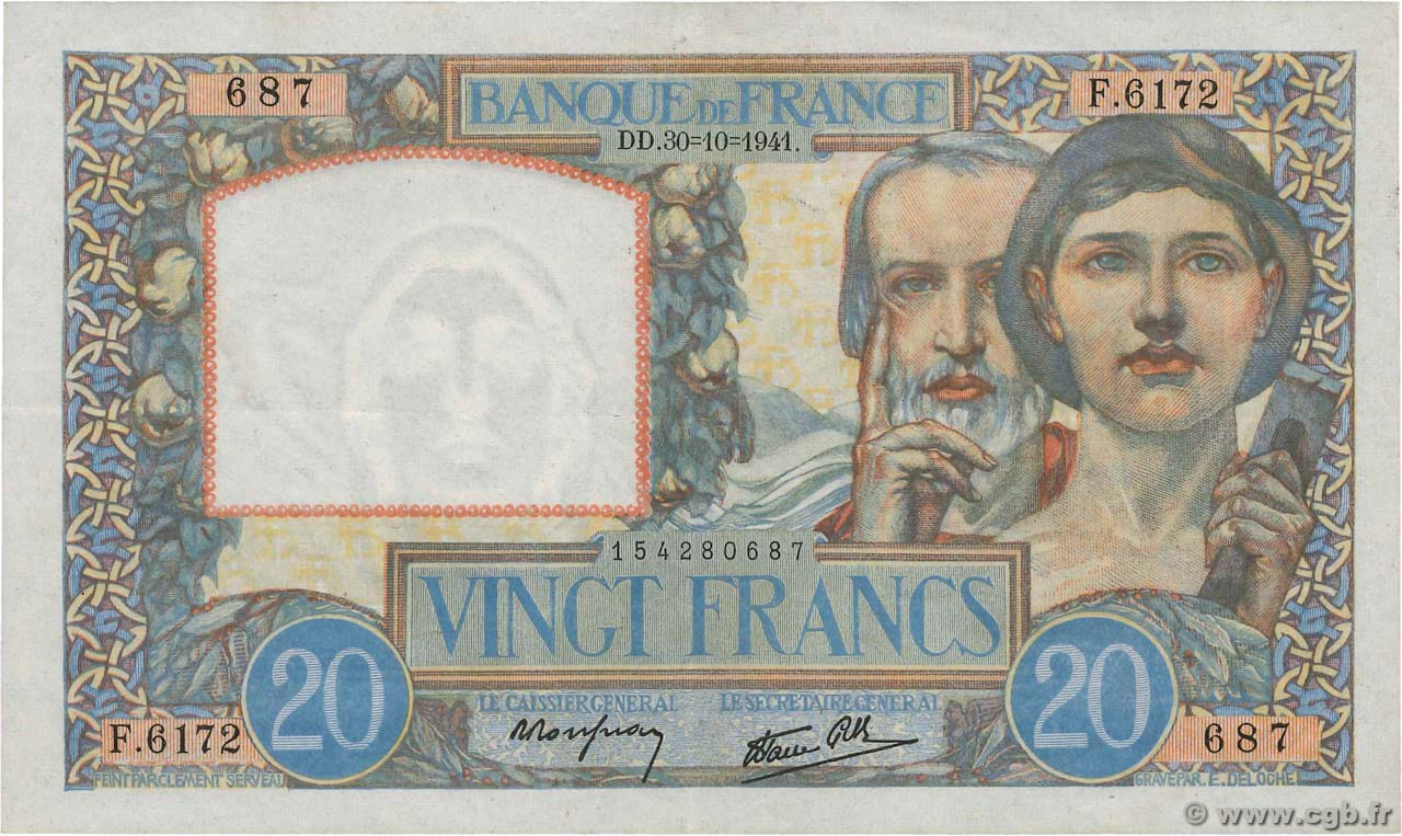 20 Francs SCIENCE ET TRAVAIL FRANCE  1941 F.12.19 XF