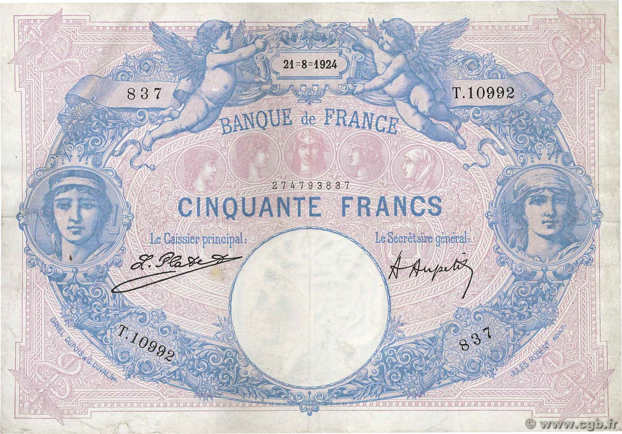 50 Francs BLEU ET ROSE FRANCE  1924 F.14.37 TTB