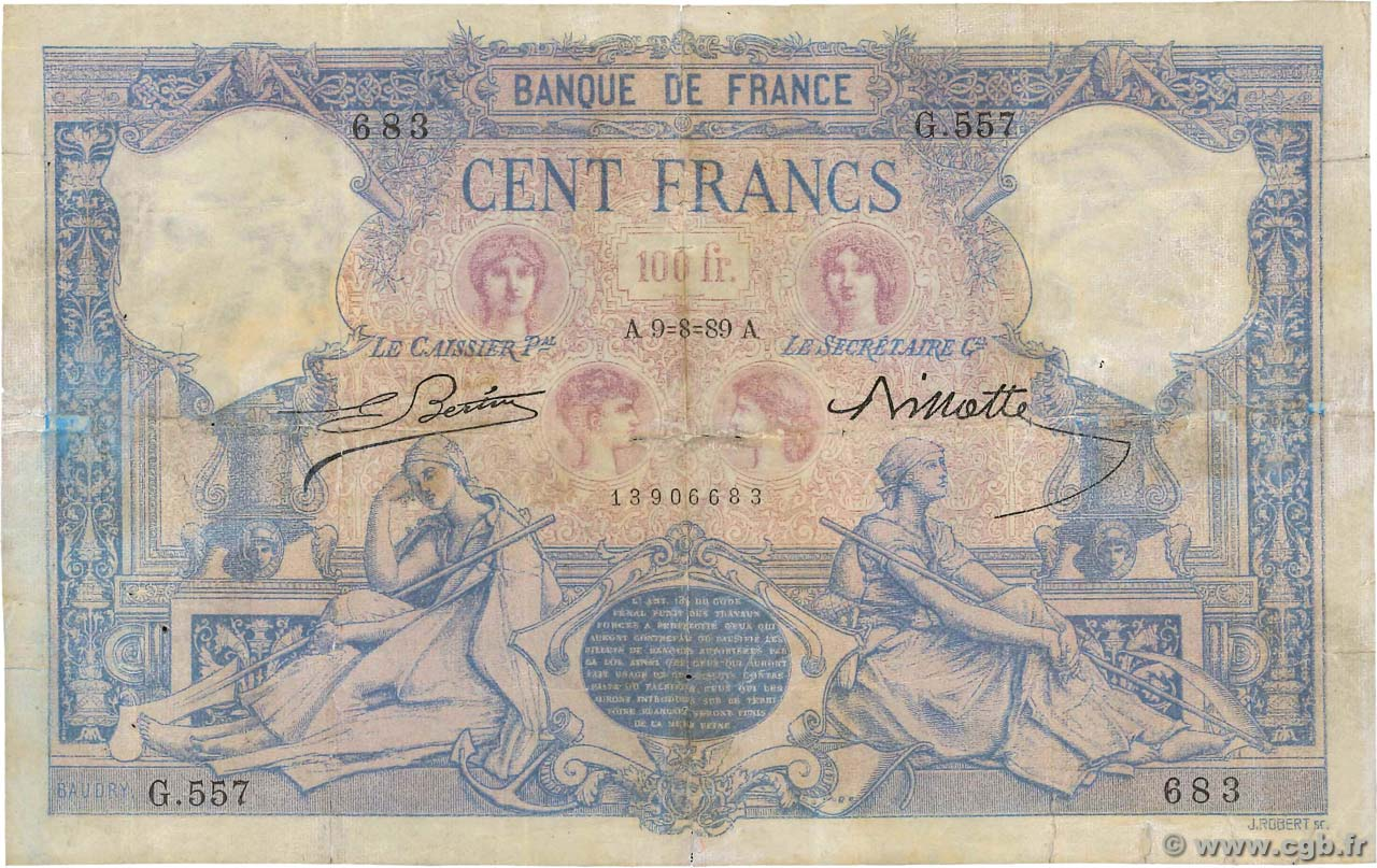 100 Francs BLEU ET ROSE FRANCE  1889 F.21.02 B+